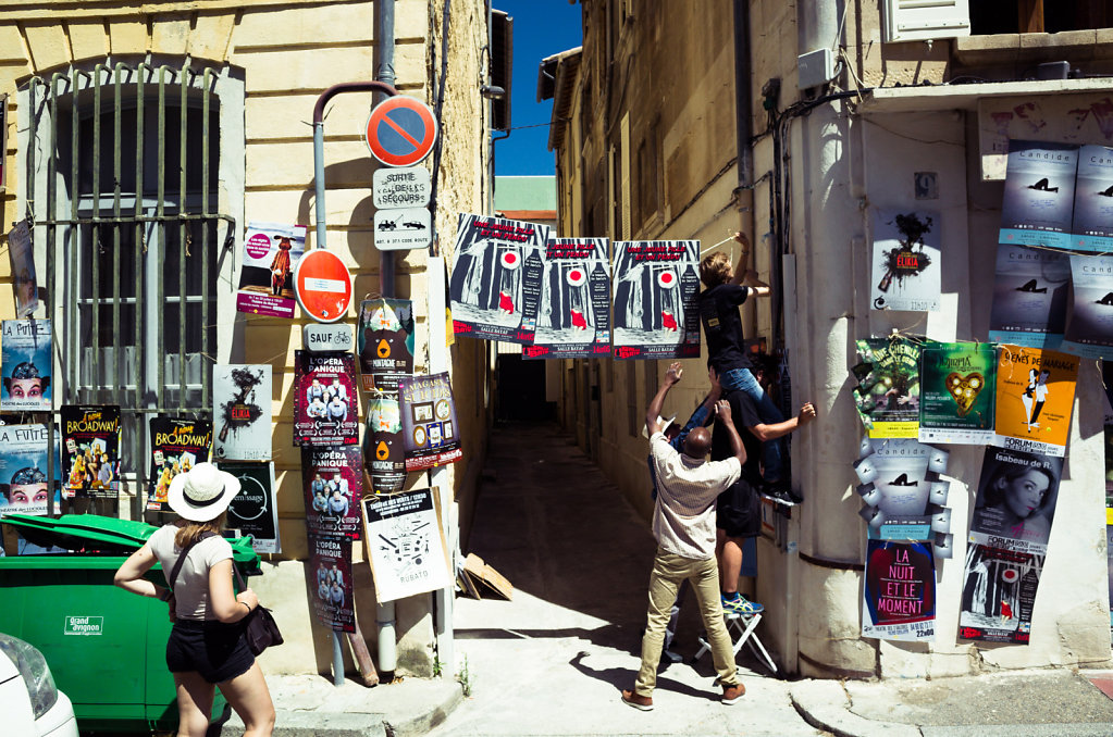 Covering the city in posters, Avignon