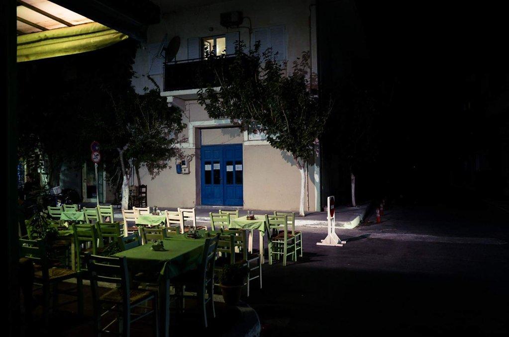 Empty taverna terrace, Paleochora, Crete