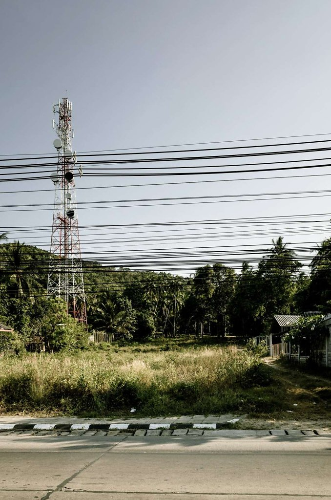 Telecommunications tower and cables, Koh Samui