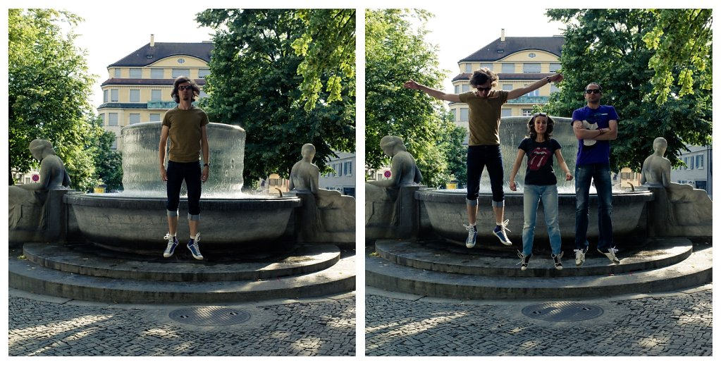 Floating alone / with friends in Zurich, diptych