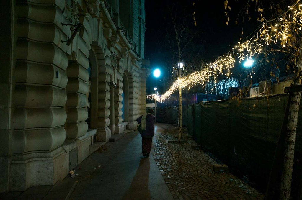 Taking a night time walk, Bucharest
