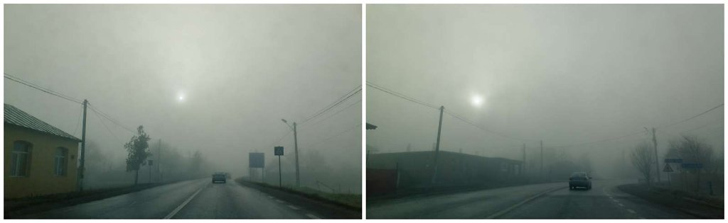 Road under a pinhole sun and fog, diptych