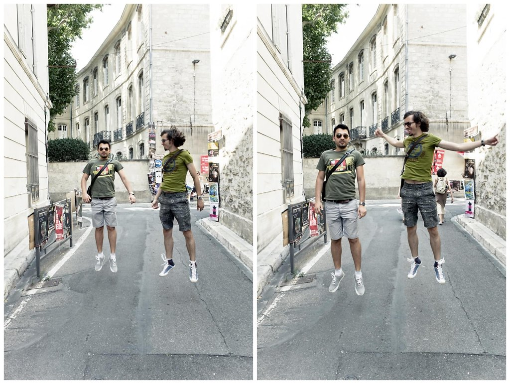 Floating with friends, diptych, Avignon