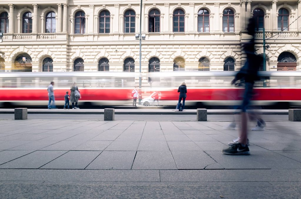 Speeding tram, Prague