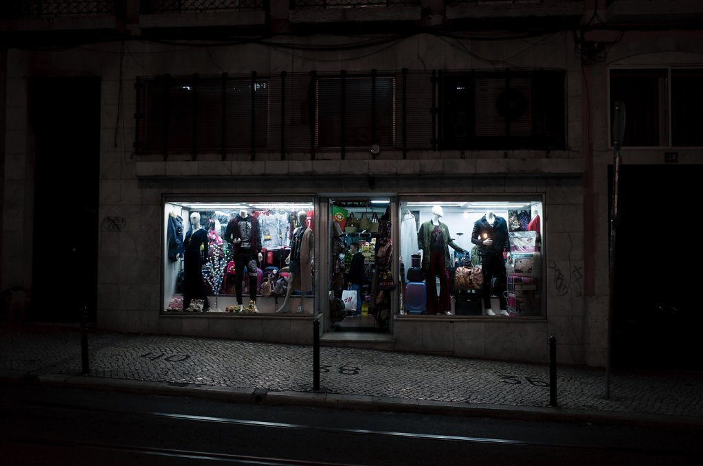 Clothing store window at night, Lisbon