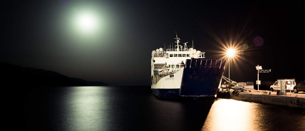 Moon light and ship, Paleochora, Crete
