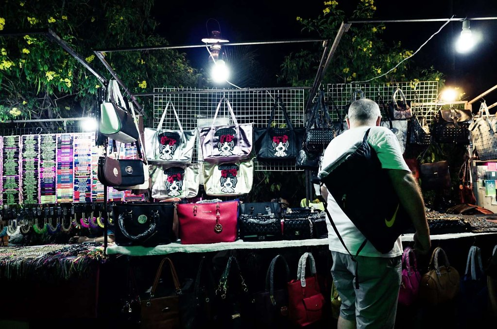Purse shopping at night, Koh Samui