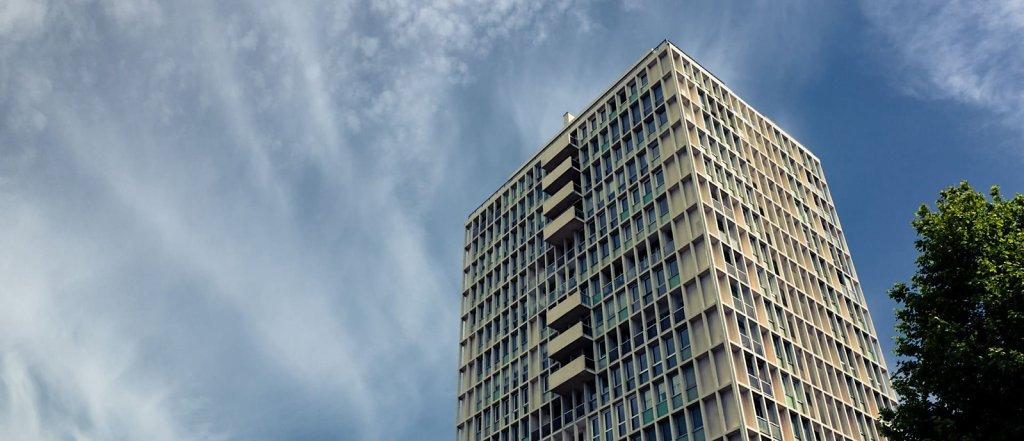 Brutalist architecture over blue sky, Marseille