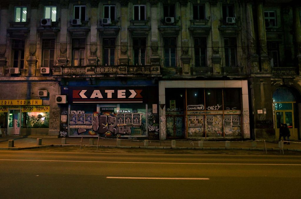 Bucharest street at night