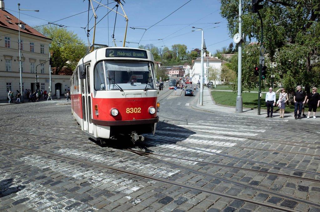 Tram crossing, Prague