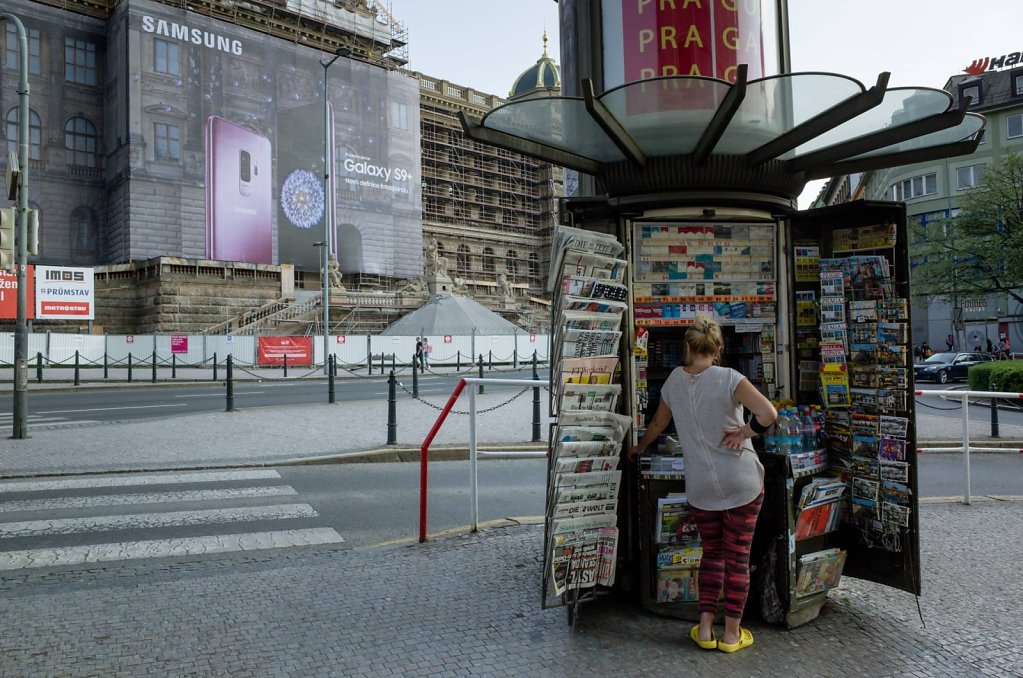 Newsstand, water and cigarettes, Prague