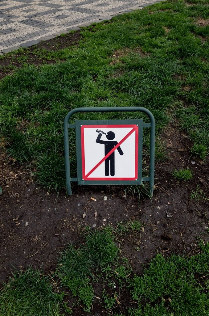 No drinking on the grass